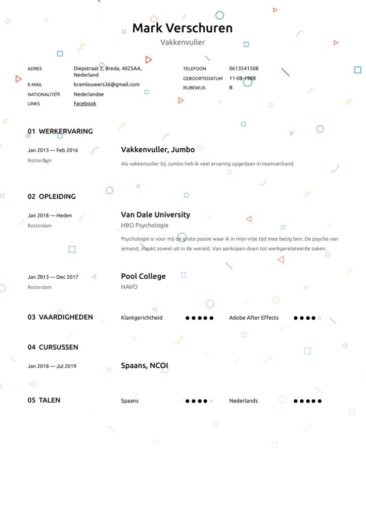 pdf template vakkenvuller cv