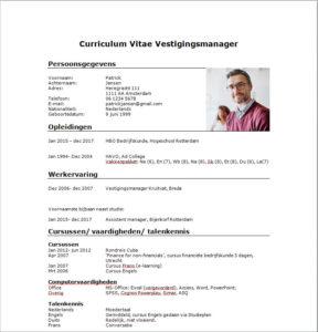 Cv Voorbeeld Vestigingsmanager Of Bedrijfsleider Download Gratis