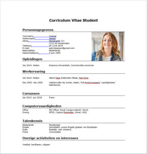Cv Voorbeeld Student Gratis Downloaden In Word Perfectcv Nl
