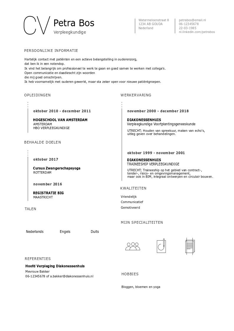 verpleegkundige cv CV voorbeeld Verpleegkundige   Download Gratis   PerfectCV.nl