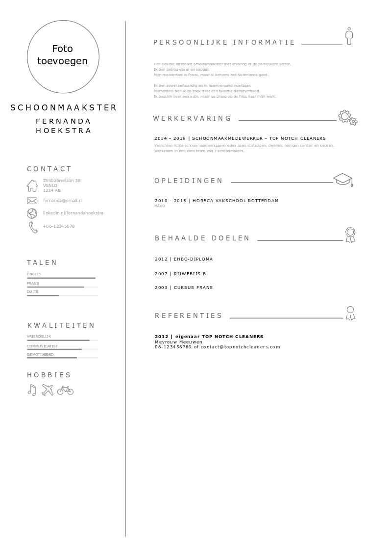 cv in PDF voor een schoonmaakster