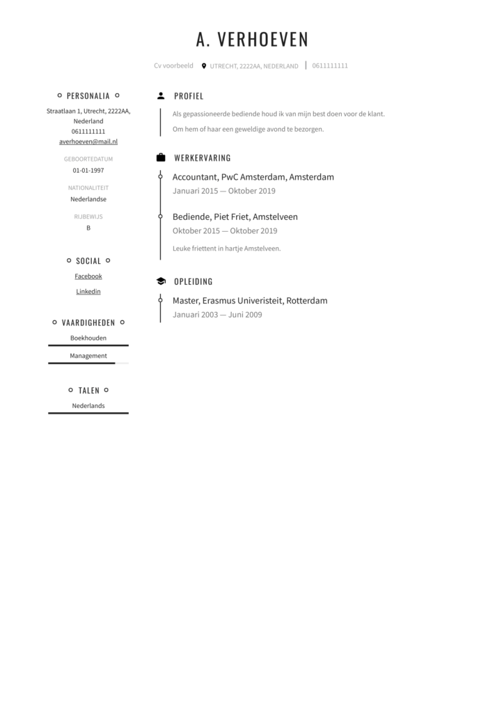 overzichtelijk Cv voorbeeld pdf