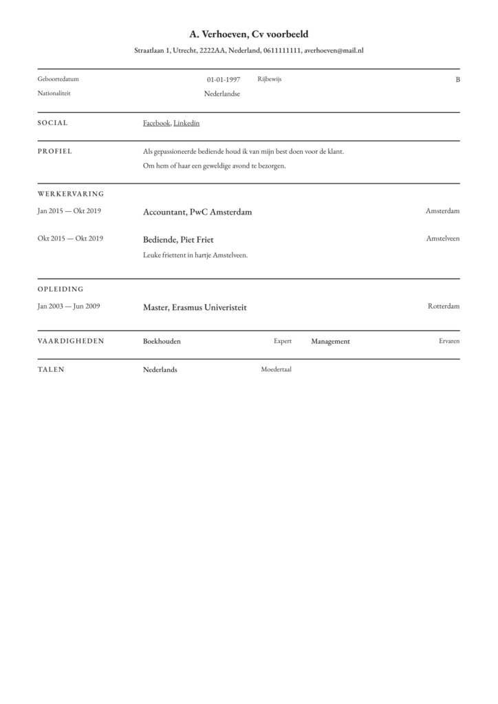 origineel pdf voorbeeld cv verpleegkundige