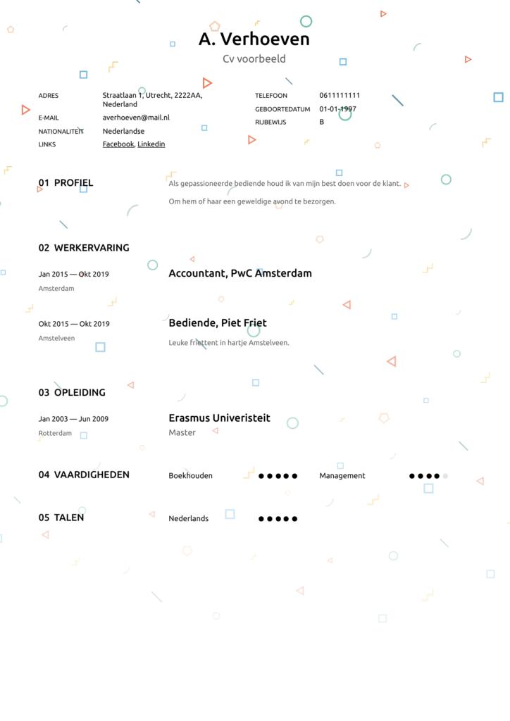 creatief cv voorbeeld pdf