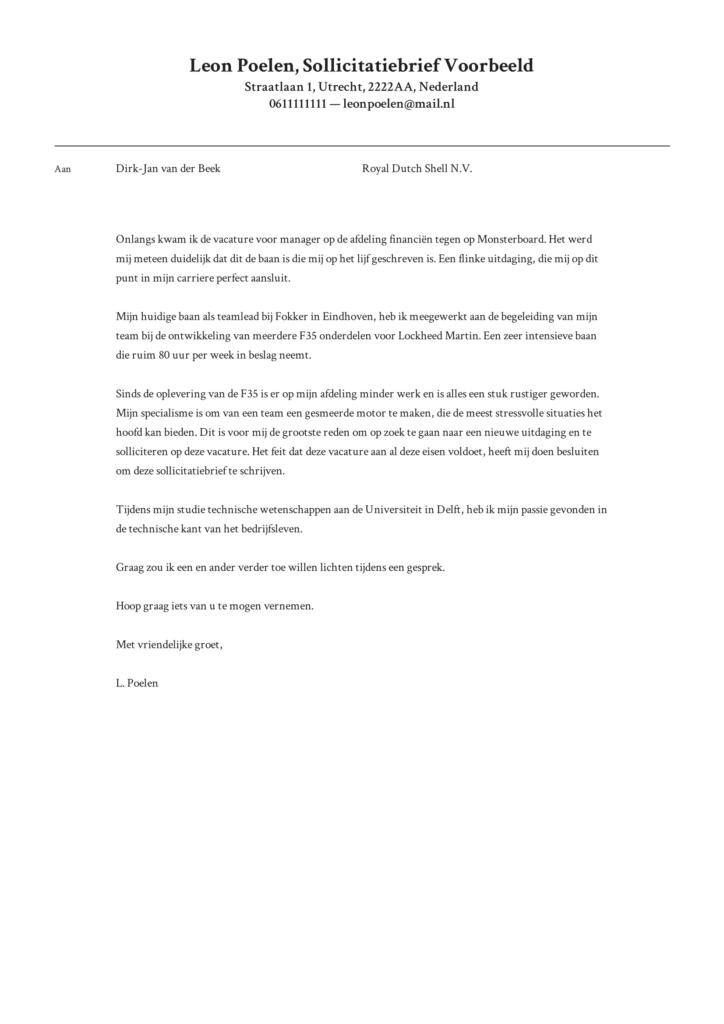sollictatiebrief voorbeeld 1