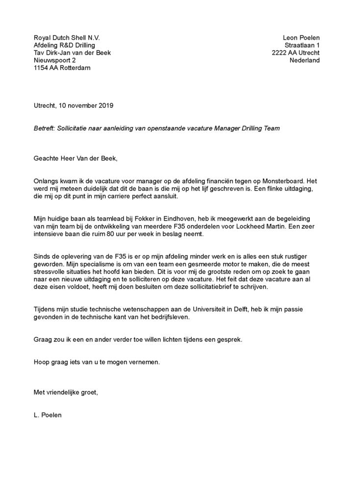voorbeeld sollictatiebrief
